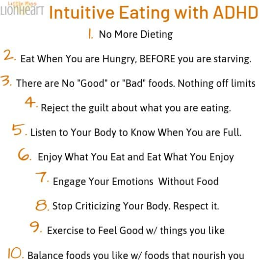Intuitive Eating is a great strategy for losing weight and being healthy, especially when you have ADHD. Read the post for all 12 strategies to manage your weight when you have ADHD.#ADHD #ADHDwomen #ADHDadult #loseweight #weightloss