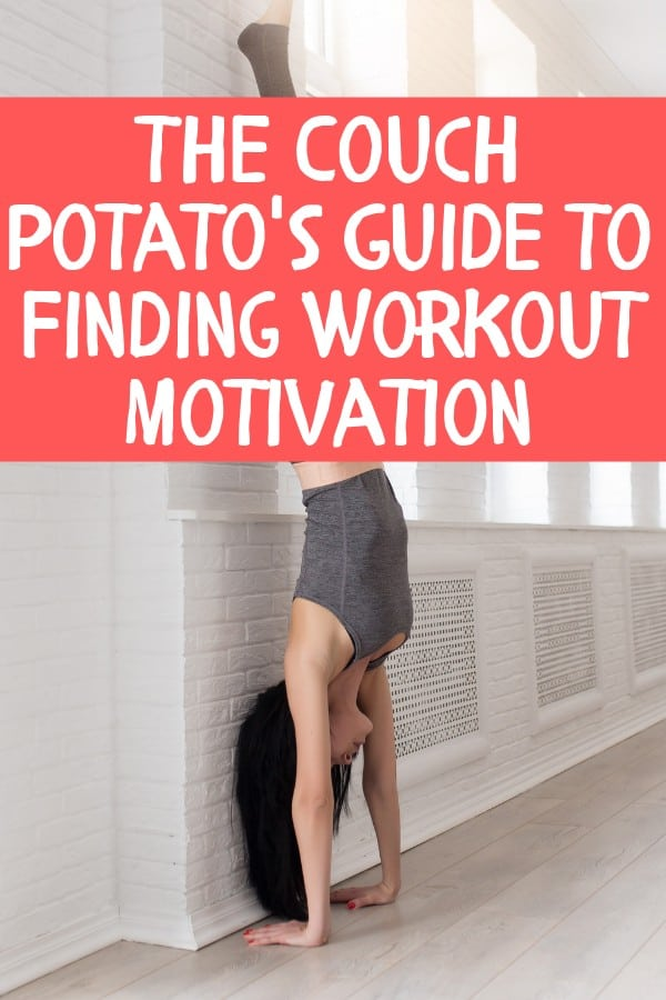 Couch Potato Workout Motivation Pin with woman in handstand